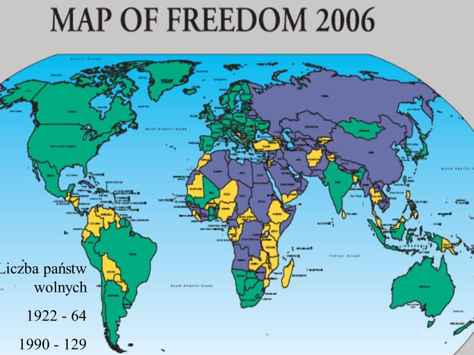 Liczba państw wolnych 1922 - 64 1990 - 129