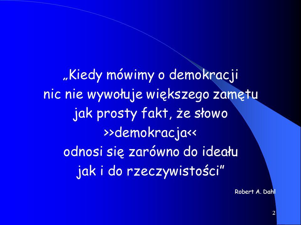 """""""Kiedy mówimy o demokracji nic nie wywołuje większego zamętu"""