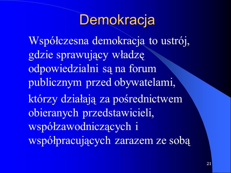 Demokracja Współczesna demokracja to ustrój, gdzie sprawujący władzę odpowiedzialni są na forum publicznym przed obywatelami,