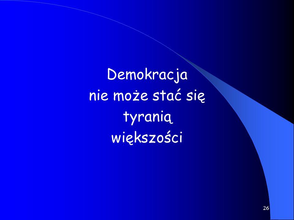 Demokracja nie może stać się tyranią większości