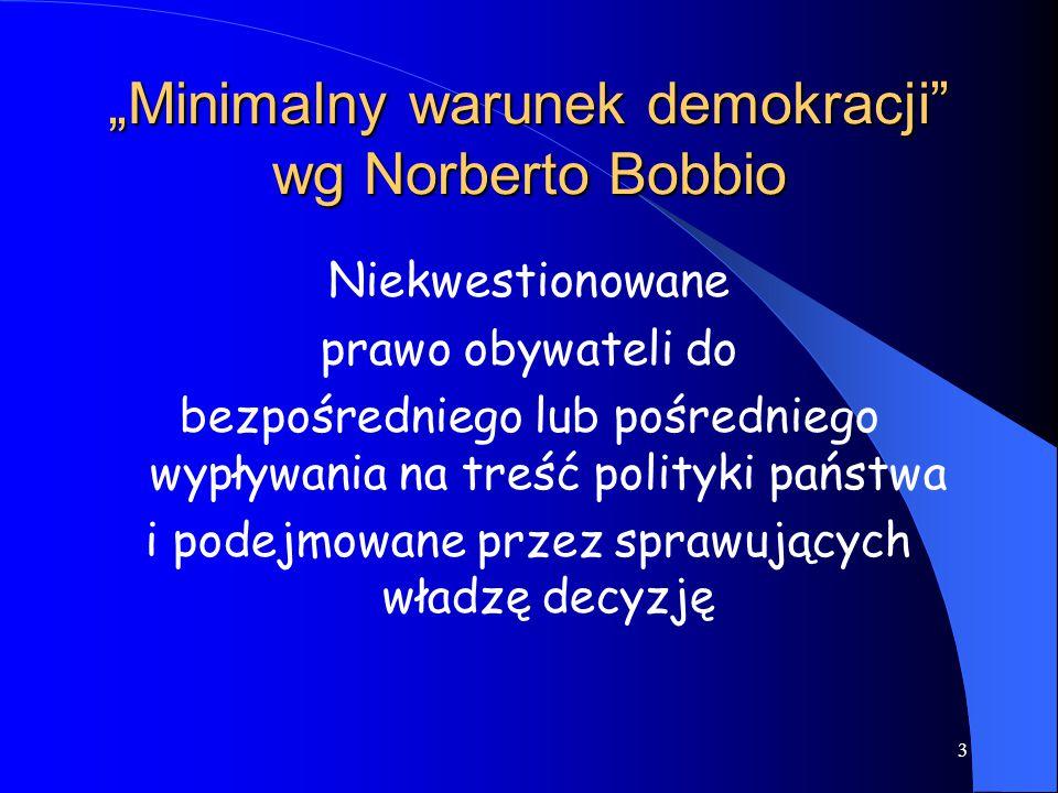"""""""Minimalny warunek demokracji wg Norberto Bobbio"""