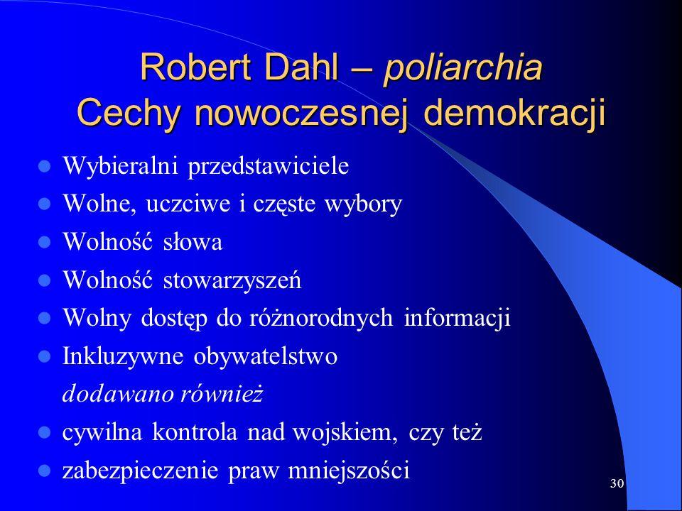 Robert Dahl – poliarchia Cechy nowoczesnej demokracji