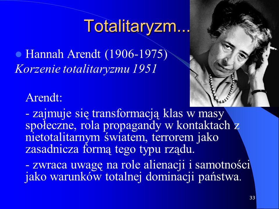 Totalitaryzm... Hannah Arendt (1906-1975) Korzenie totalitaryzmu 1951