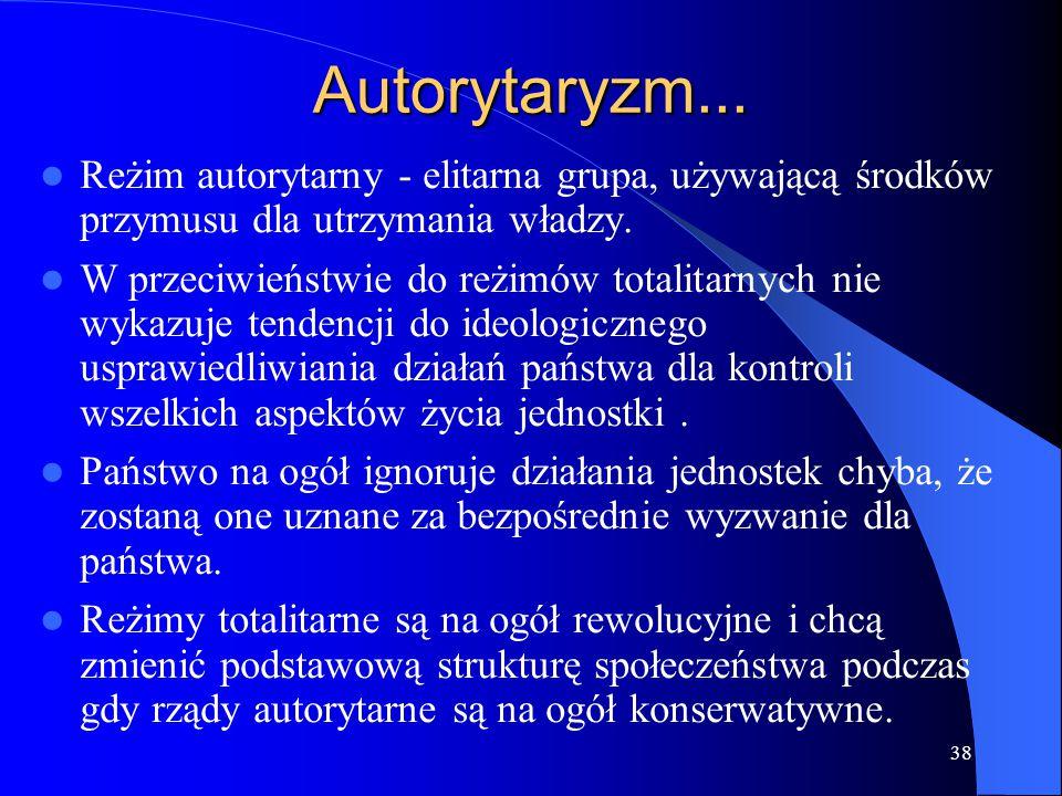 Autorytaryzm... Reżim autorytarny - elitarna grupa, używającą środków przymusu dla utrzymania władzy.