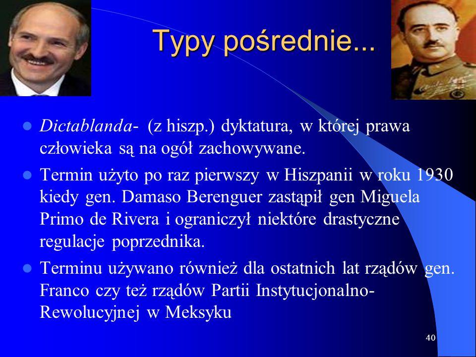 Typy pośrednie... Dictablanda- (z hiszp.) dyktatura, w której prawa człowieka są na ogół zachowywane.