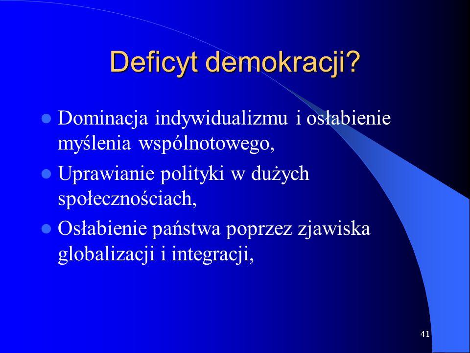 Deficyt demokracji Dominacja indywidualizmu i osłabienie myślenia wspólnotowego, Uprawianie polityki w dużych społecznościach,