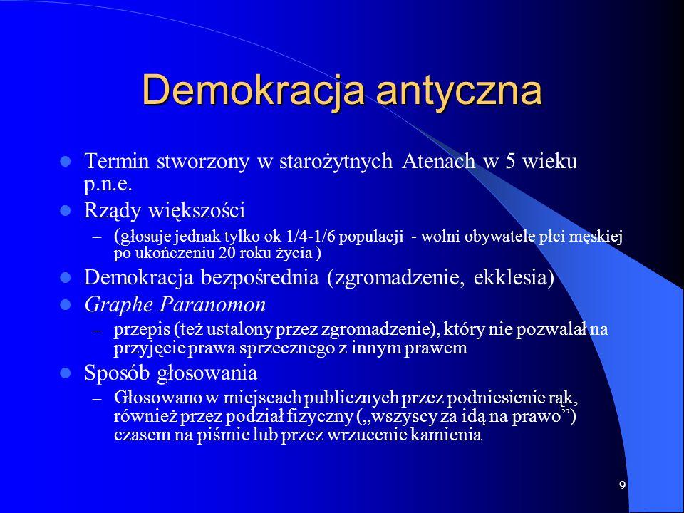 Demokracja antyczna Termin stworzony w starożytnych Atenach w 5 wieku p.n.e. Rządy większości.