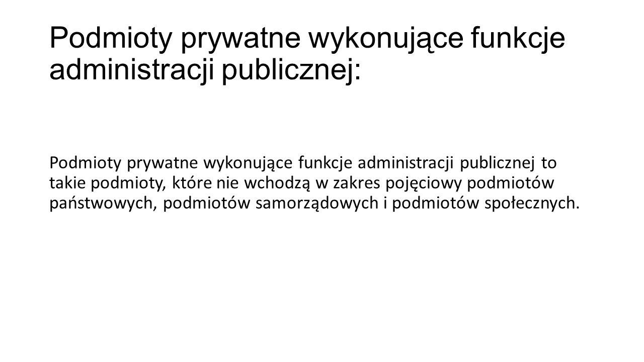 Podmioty prywatne wykonujące funkcje administracji publicznej: