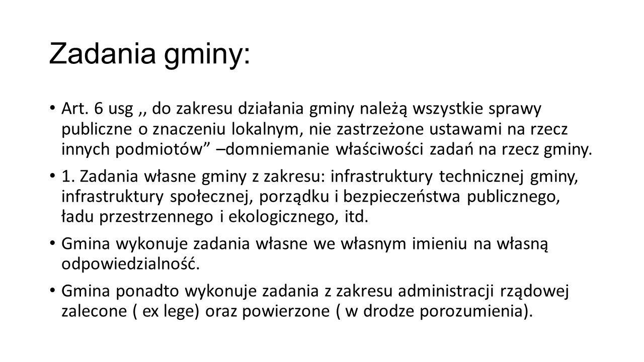 Zadania gminy: