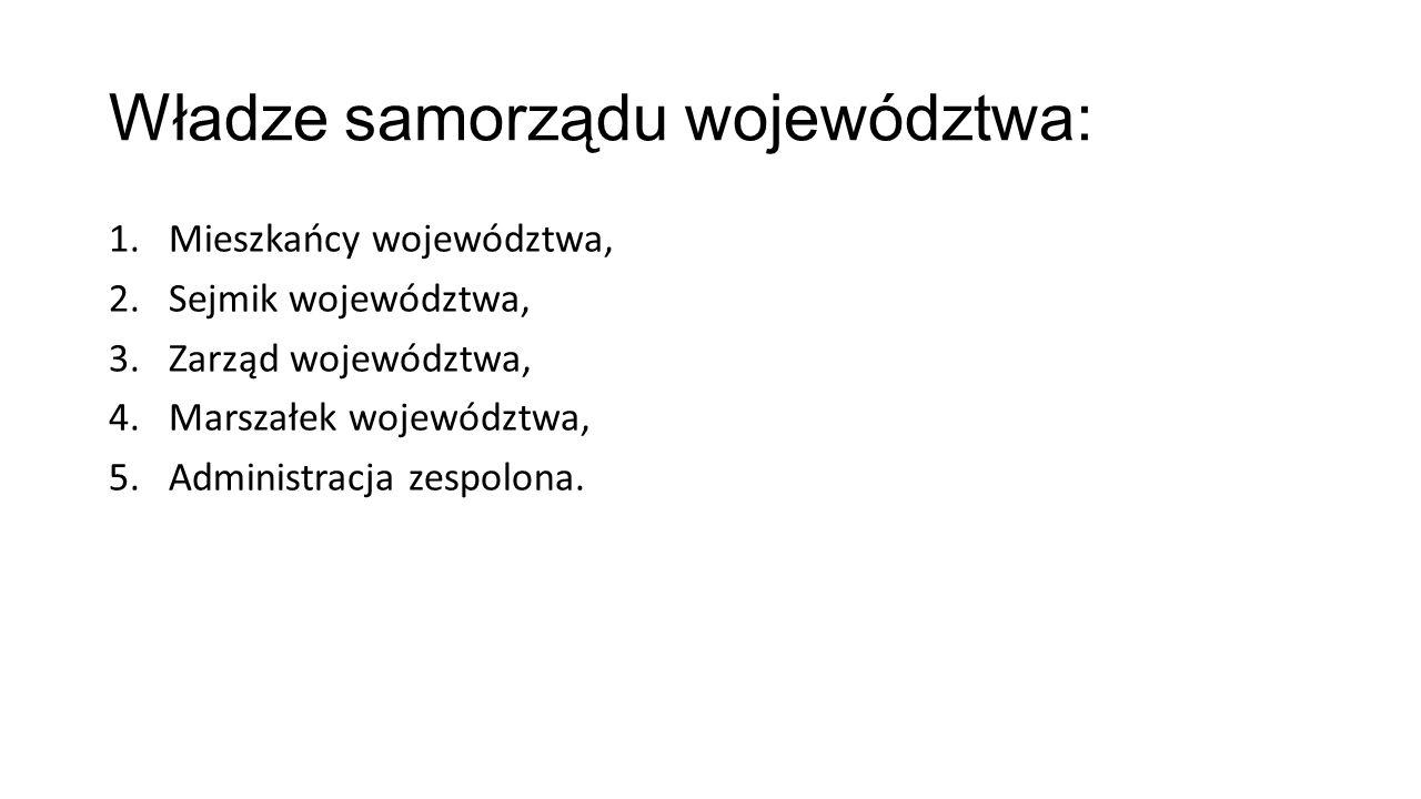 Władze samorządu województwa: