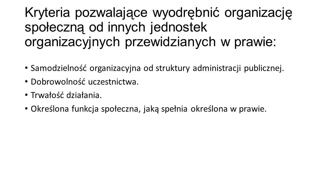 Kryteria pozwalające wyodrębnić organizację społeczną od innych jednostek organizacyjnych przewidzianych w prawie: