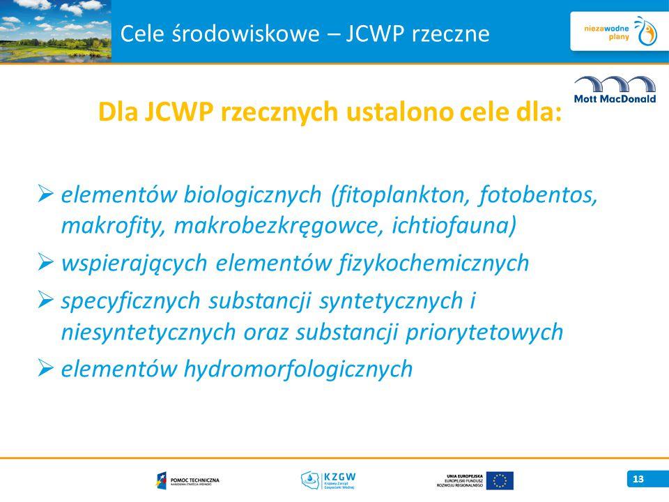 Cele środowiskowe – JCWP rzeczne