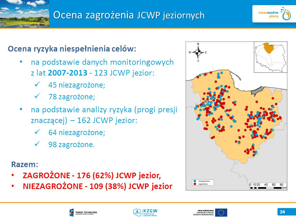 Ocena zagrożenia JCWP jeziornych