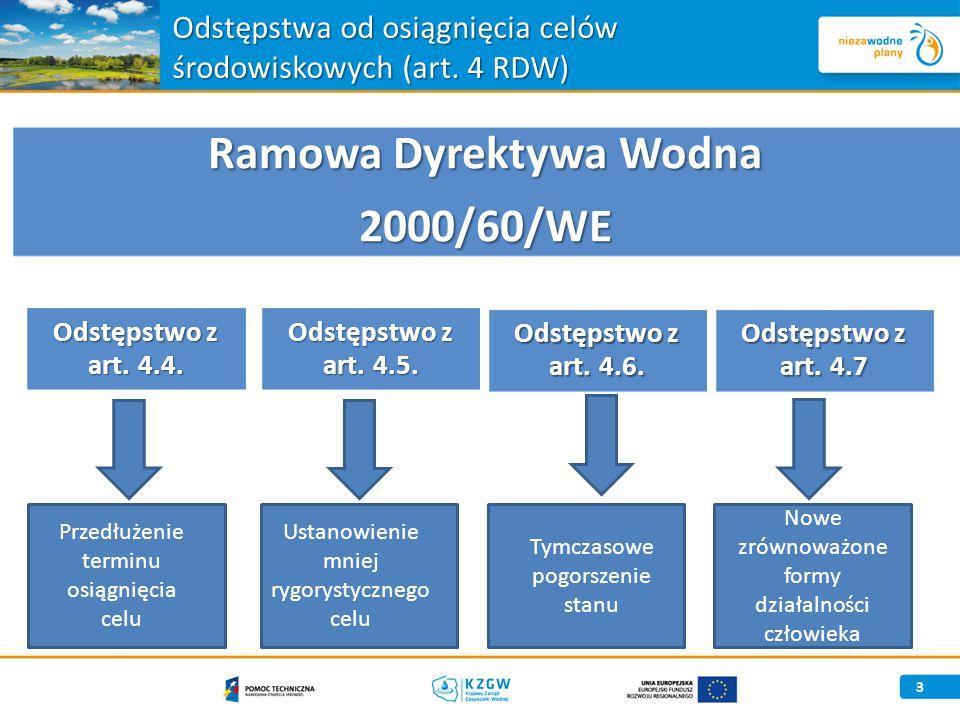 Odstępstwa od osiągnięcia celów środowiskowych (art. 4 RDW)