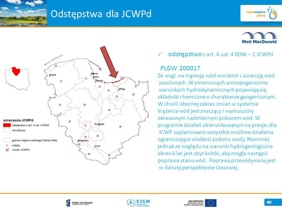 Odstępstwa dla JCWPd odstępstwo z art. 4 ust. 4 RDW – 1 JCWPd