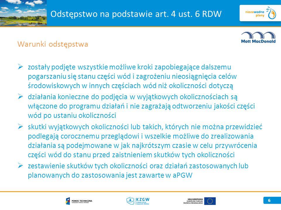 Odstępstwo na podstawie art. 4 ust. 6 RDW