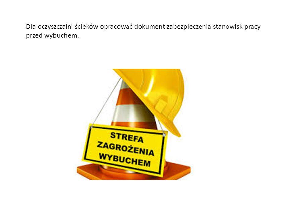 Dla oczyszczalni ścieków opracować dokument zabezpieczenia stanowisk pracy przed wybuchem.