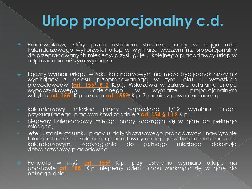 Urlop proporcjonalny c.d.
