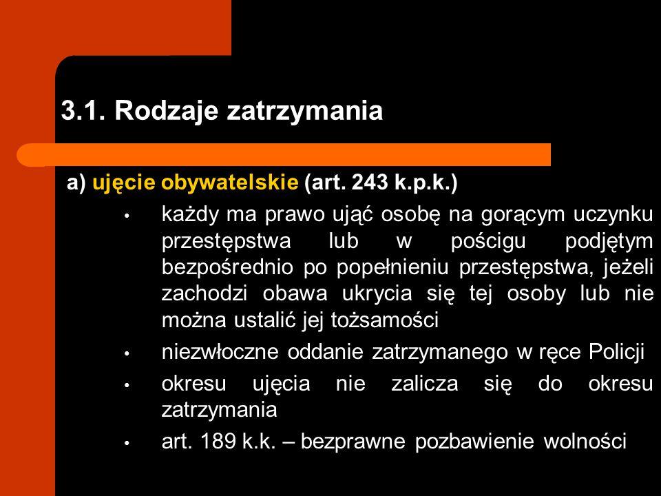 3.1. Rodzaje zatrzymania a) ujęcie obywatelskie (art. 243 k.p.k.)