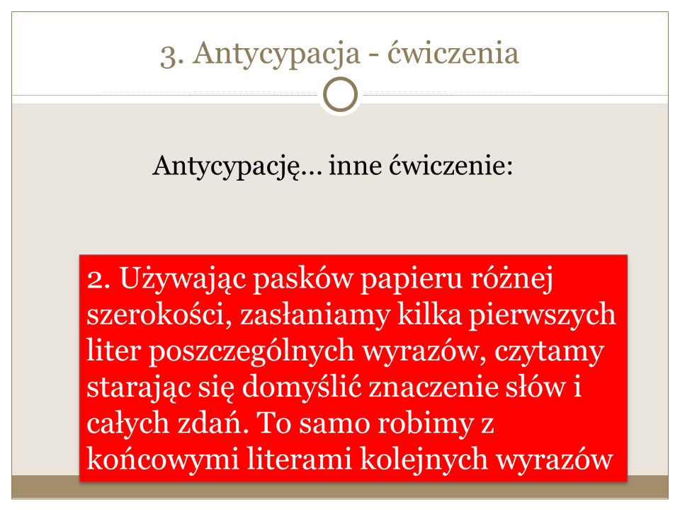 3. Antycypacja - ćwiczenia