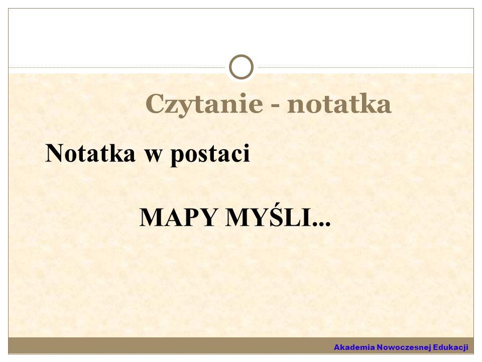 Czytanie - notatka Notatka w postaci MAPY MYŚLI...