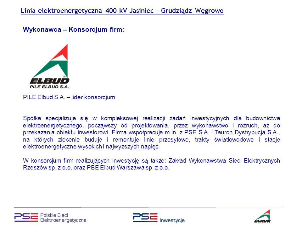 January 2007 Linia elektroenergetyczna 400 kV Jasiniec – Grudziądz Węgrowo Konieczność rozbudowy sieci przesyłowych.