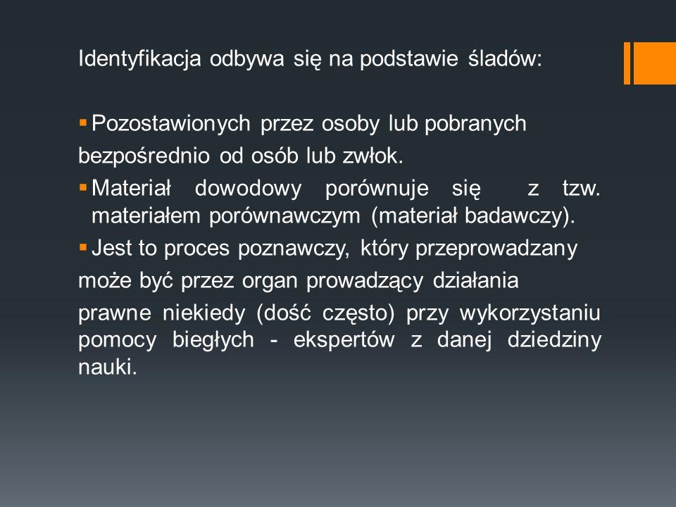 Identyfikacja odbywa się na podstawie śladów:
