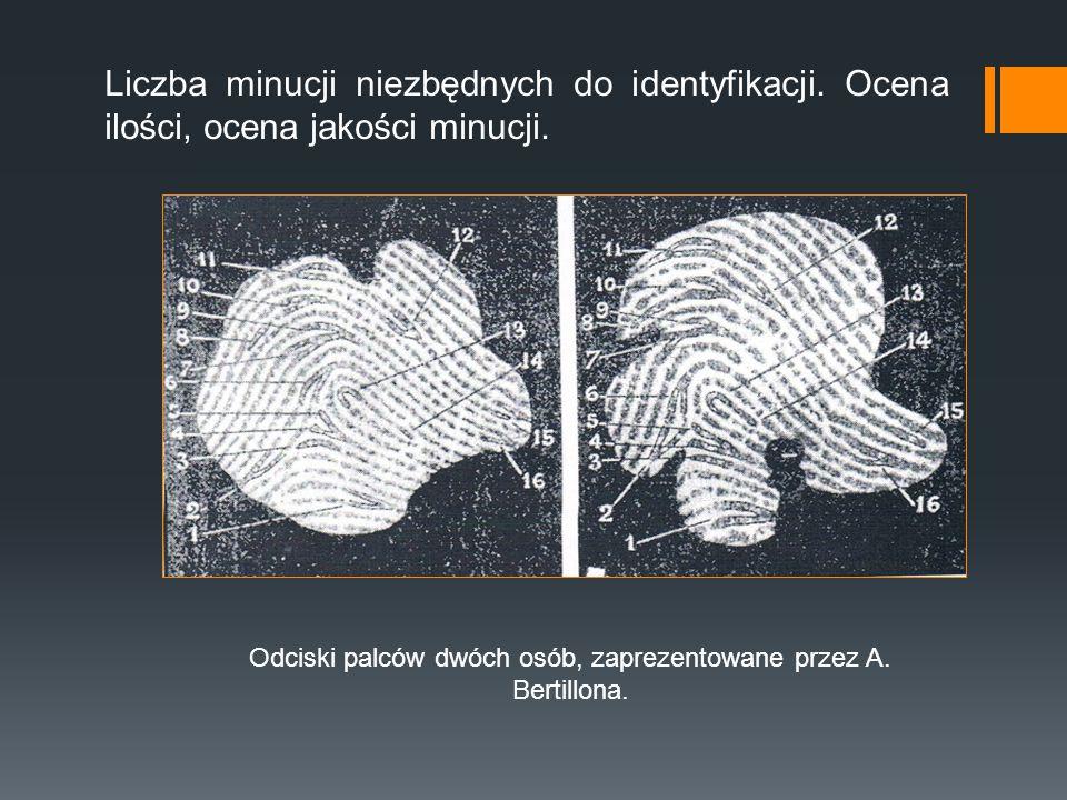 Odciski palców dwóch osób, zaprezentowane przez A. Bertillona.