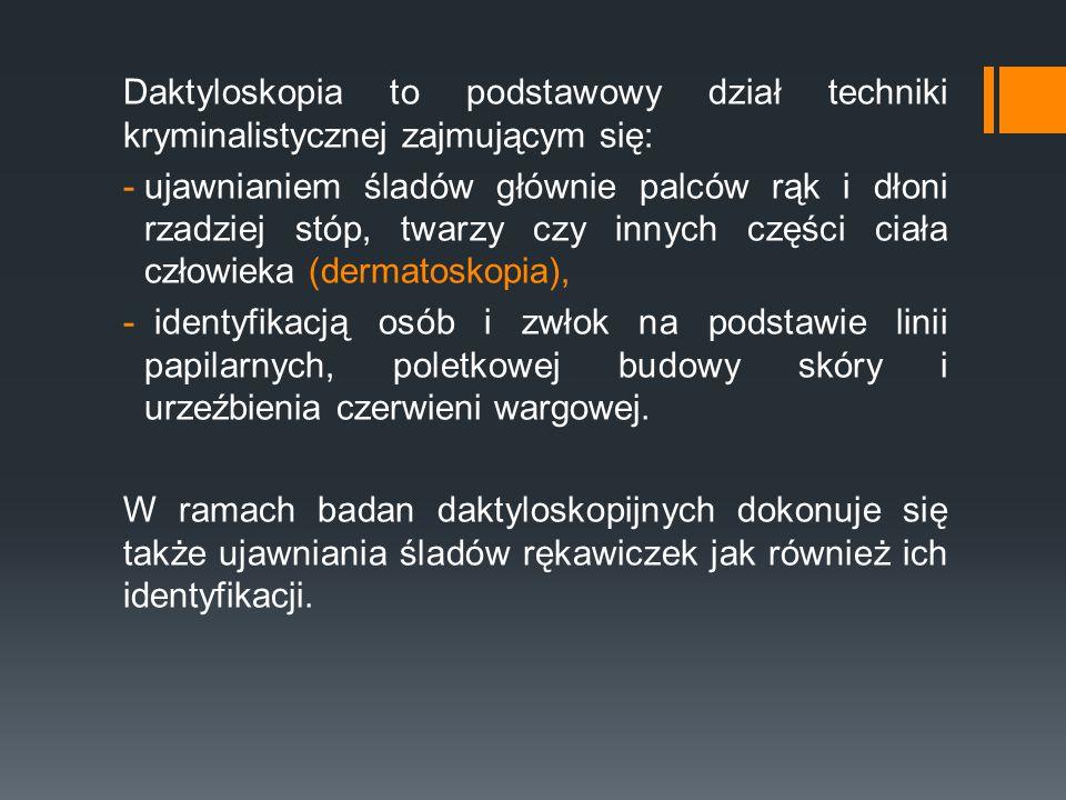 Daktyloskopia to podstawowy dział techniki kryminalistycznej zajmującym się: