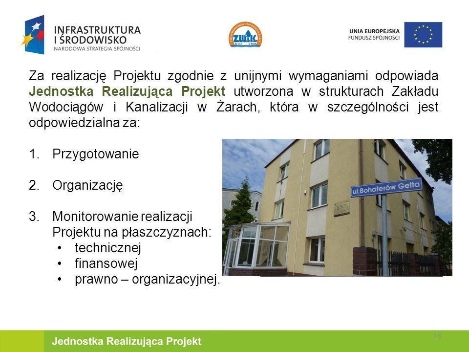 Za realizację Projektu zgodnie z unijnymi wymaganiami odpowiada Jednostka Realizująca Projekt utworzona w strukturach Zakładu Wodociągów i Kanalizacji w Żarach, która w szczególności jest odpowiedzialna za: