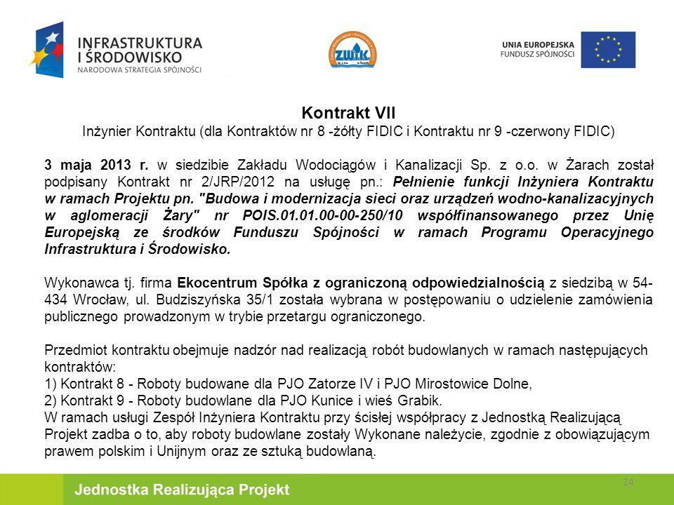 Kontrakt VII Inżynier Kontraktu (dla Kontraktów nr 8 -żółty FIDIC i Kontraktu nr 9 -czerwony FIDIC)
