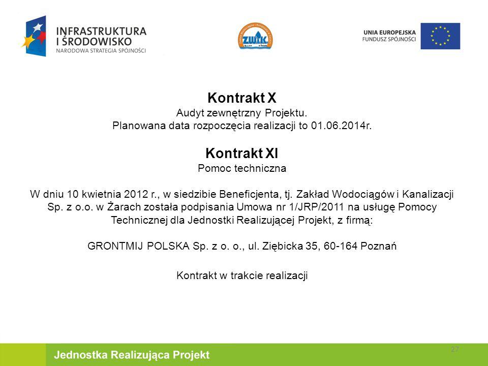 Kontrakt X Kontrakt XI Audyt zewnętrzny Projektu.