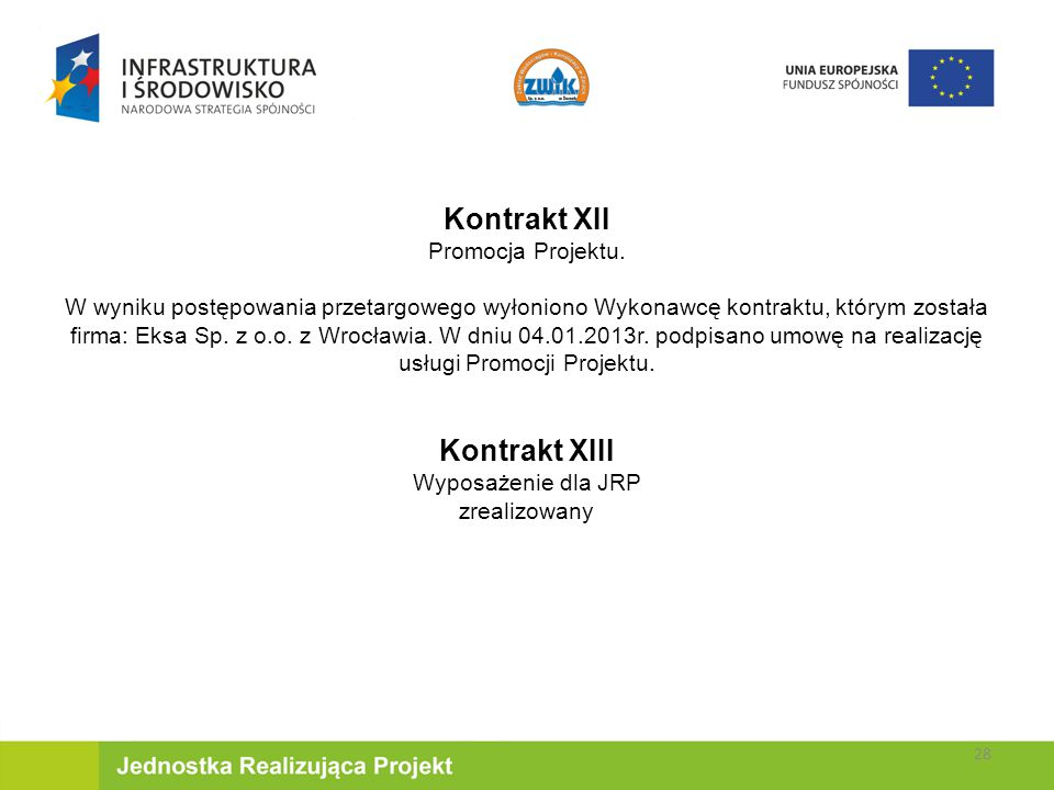 Kontrakt XII Kontrakt XIII Promocja Projektu.
