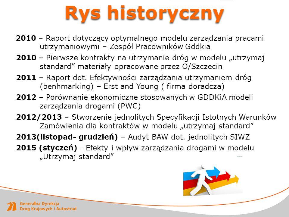 Rys historyczny 2010 – Raport dotyczący optymalnego modelu zarządzania pracami utrzymaniowymi – Zespół Pracowników Gddkia.