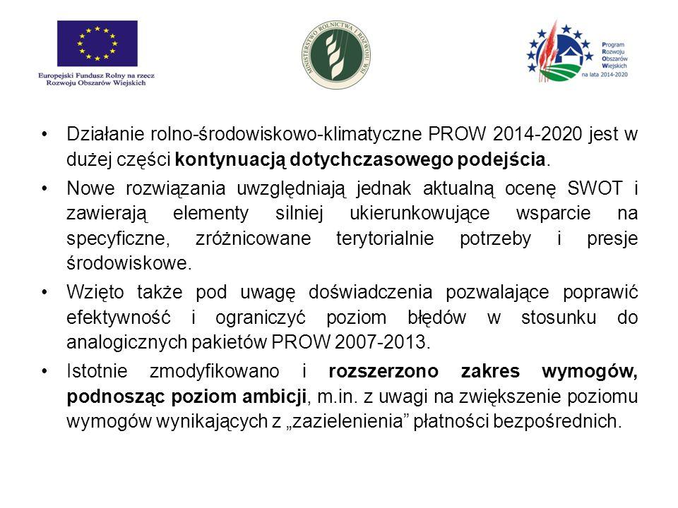Działanie rolno-środowiskowo-klimatyczne PROW 2014-2020 jest w dużej części kontynuacją dotychczasowego podejścia.