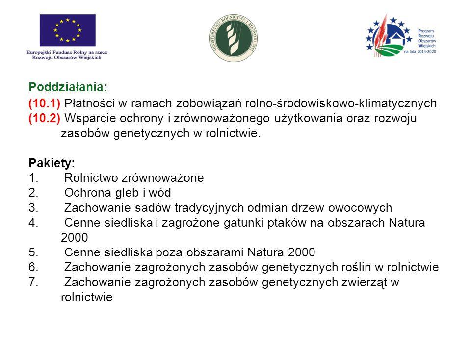 Poddziałania: (10.1) Płatności w ramach zobowiązań rolno-środowiskowo-klimatycznych.