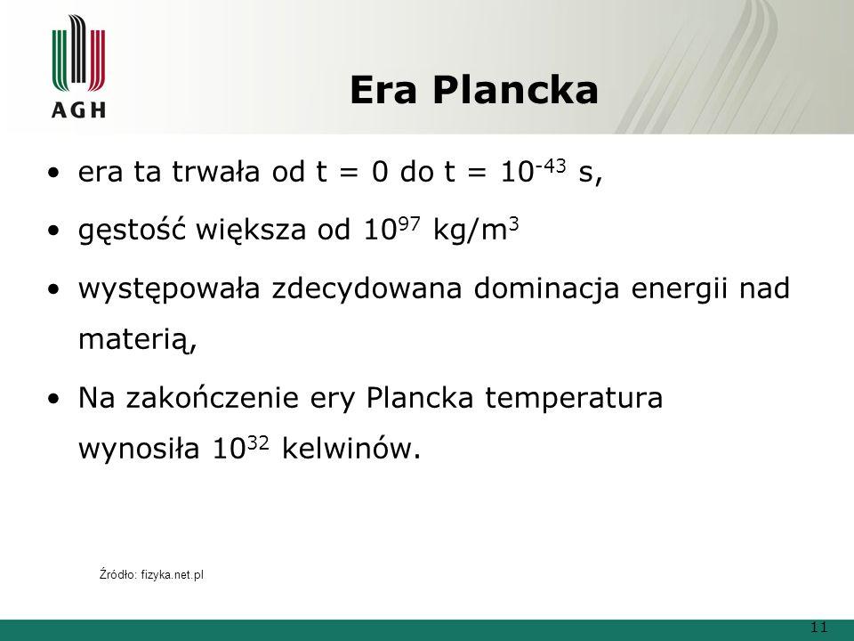 Era Plancka era ta trwała od t = 0 do t = 10-43 s,