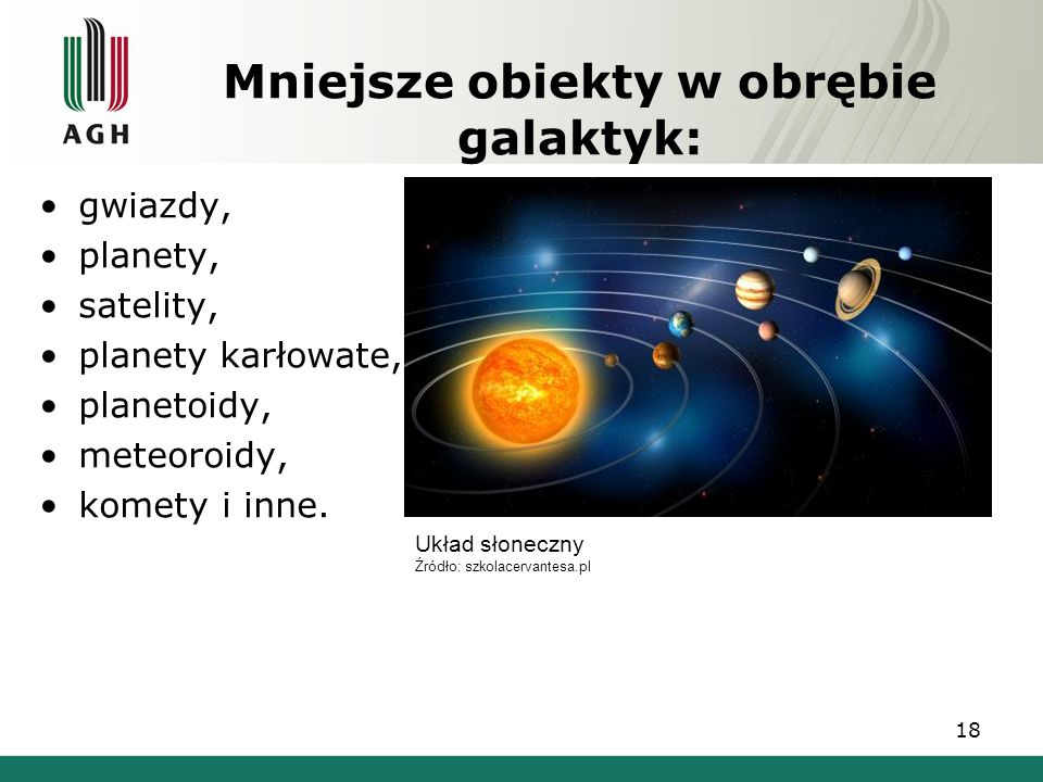 Mniejsze obiekty w obrębie galaktyk: