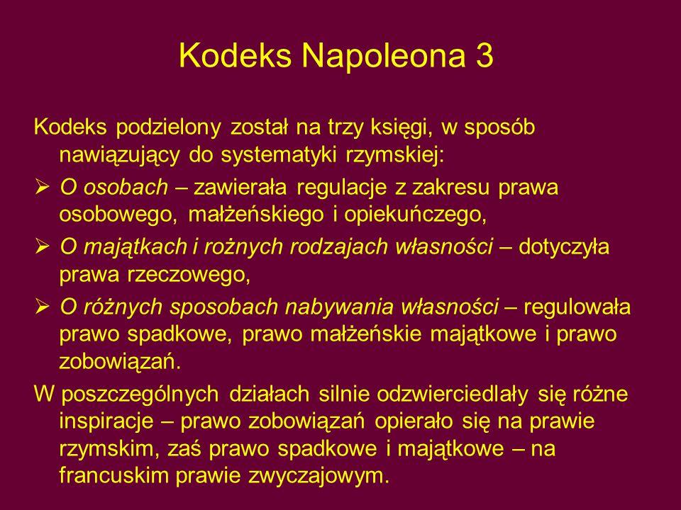 Kodeks Napoleona 3 Kodeks podzielony został na trzy księgi, w sposób nawiązujący do systematyki rzymskiej: