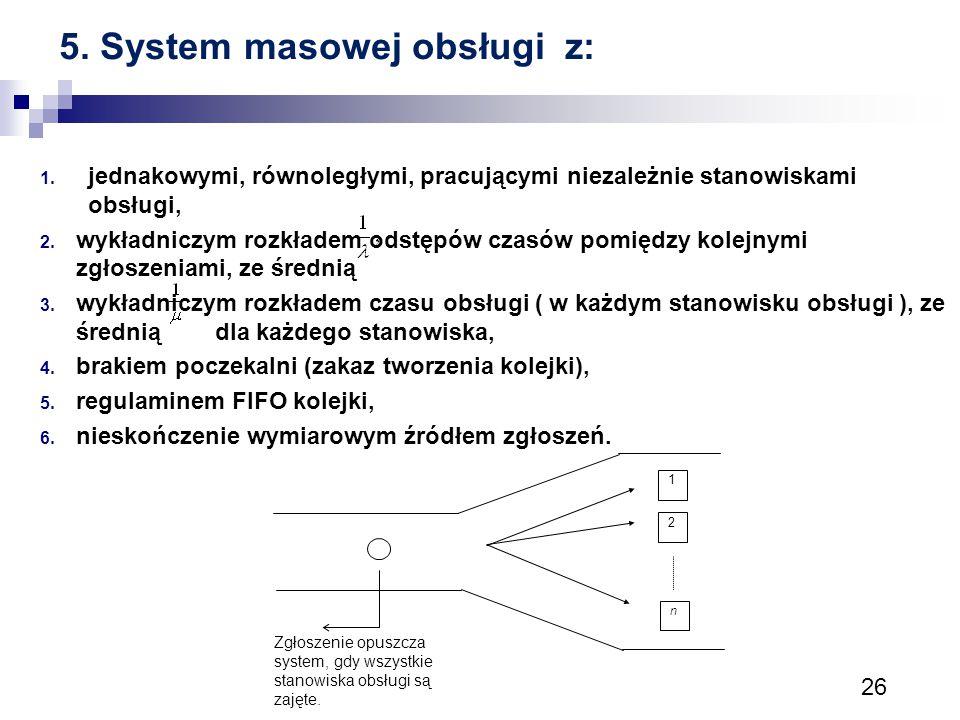 5. System masowej obsługi z: