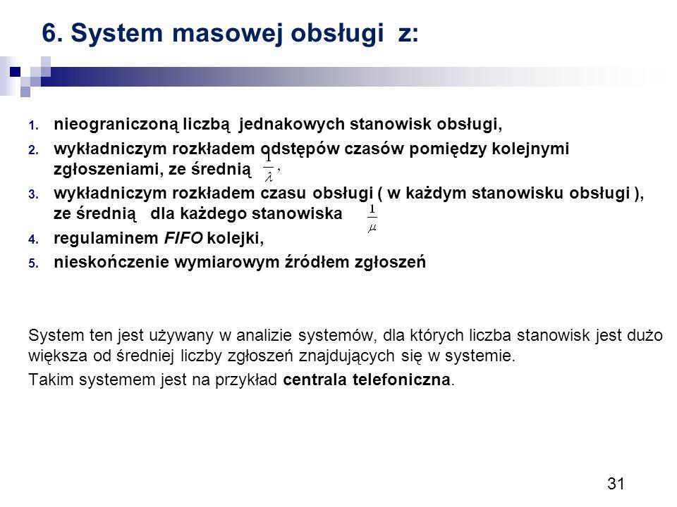 6. System masowej obsługi z: