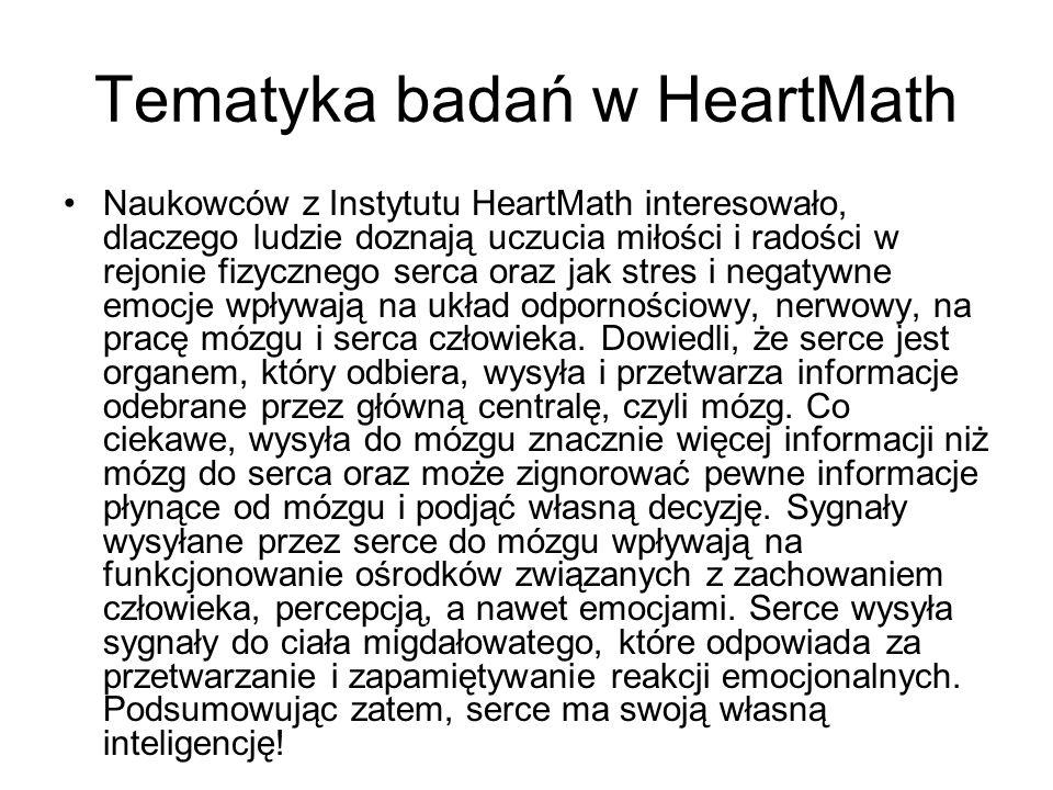 Tematyka badań w HeartMath
