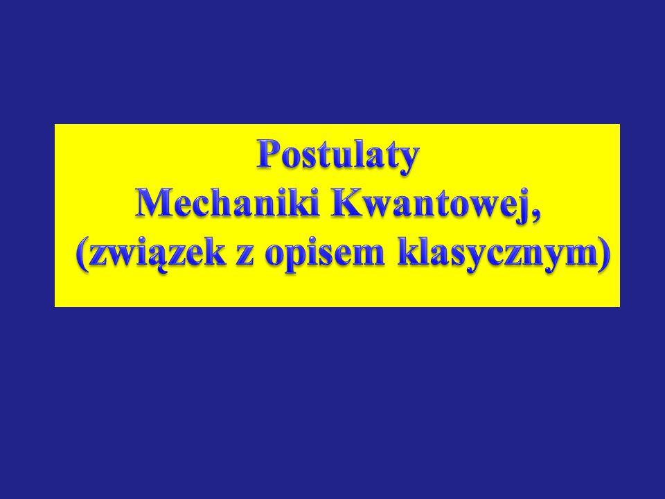 Postulaty Mechaniki Kwantowej, (związek z opisem klasycznym)