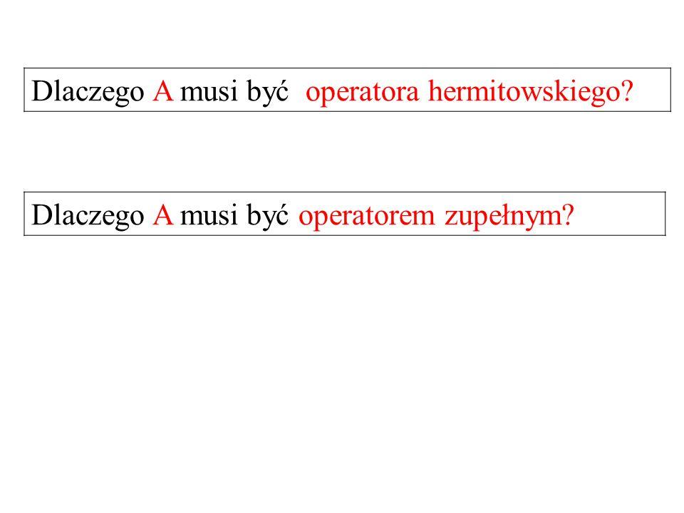 Dlaczego A musi być operatora hermitowskiego