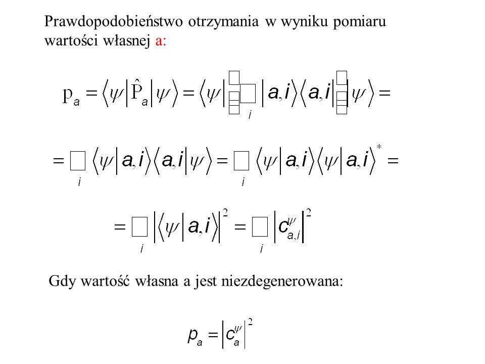 Prawdopodobieństwo otrzymania w wyniku pomiaru wartości własnej a: