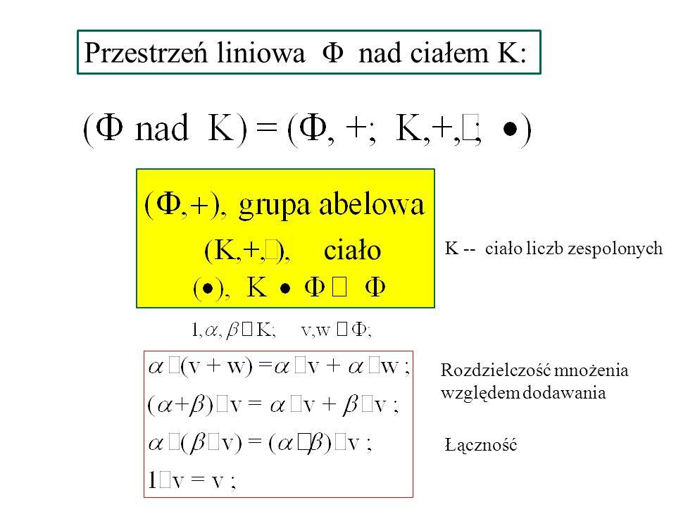 Przestrzeń liniowa Φ nad ciałem K: