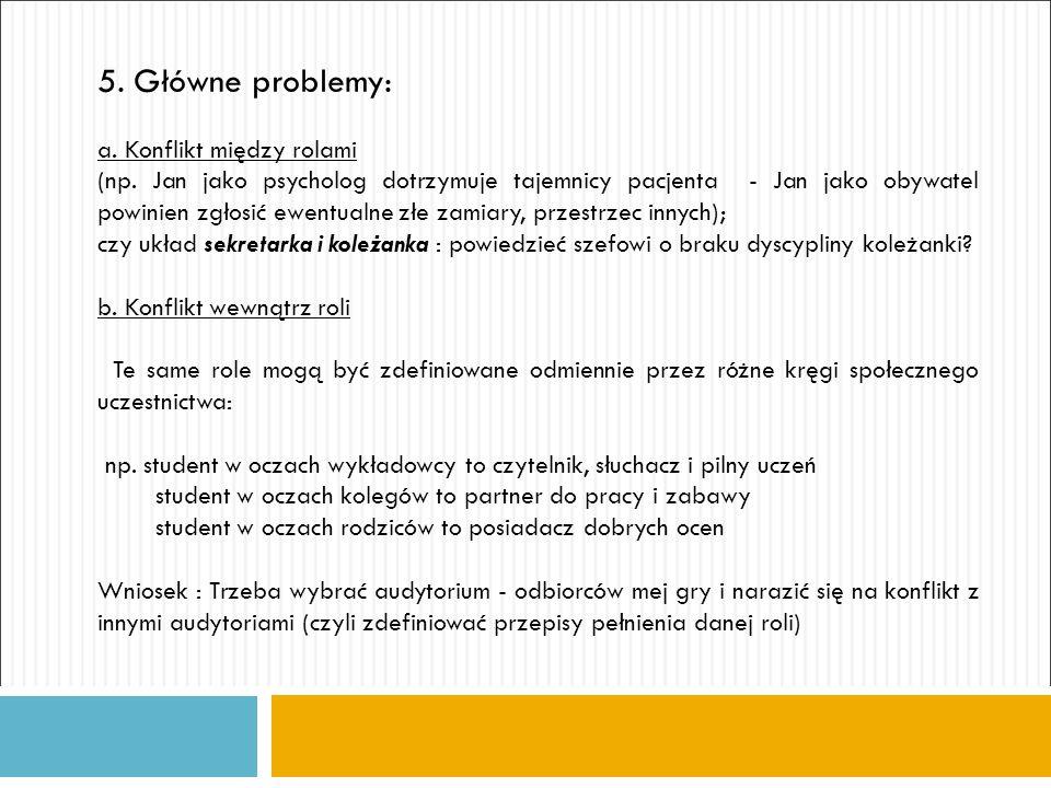 5. Główne problemy: a. Konflikt między rolami