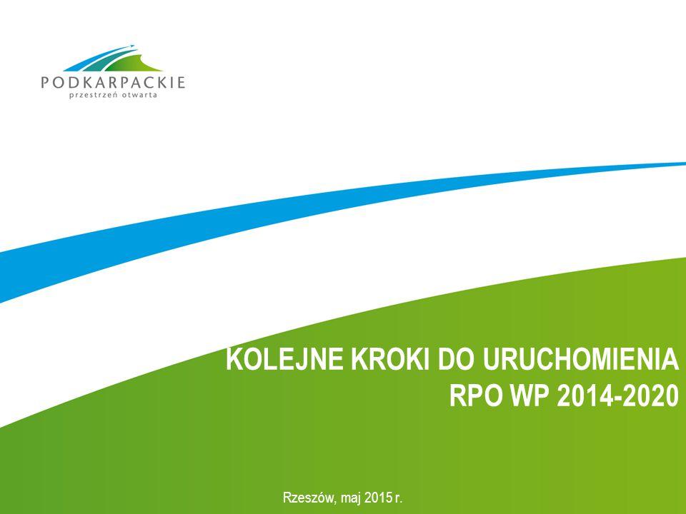 KOLEJNE KROKI DO URUCHOMIENIA RPO WP 2014-2020