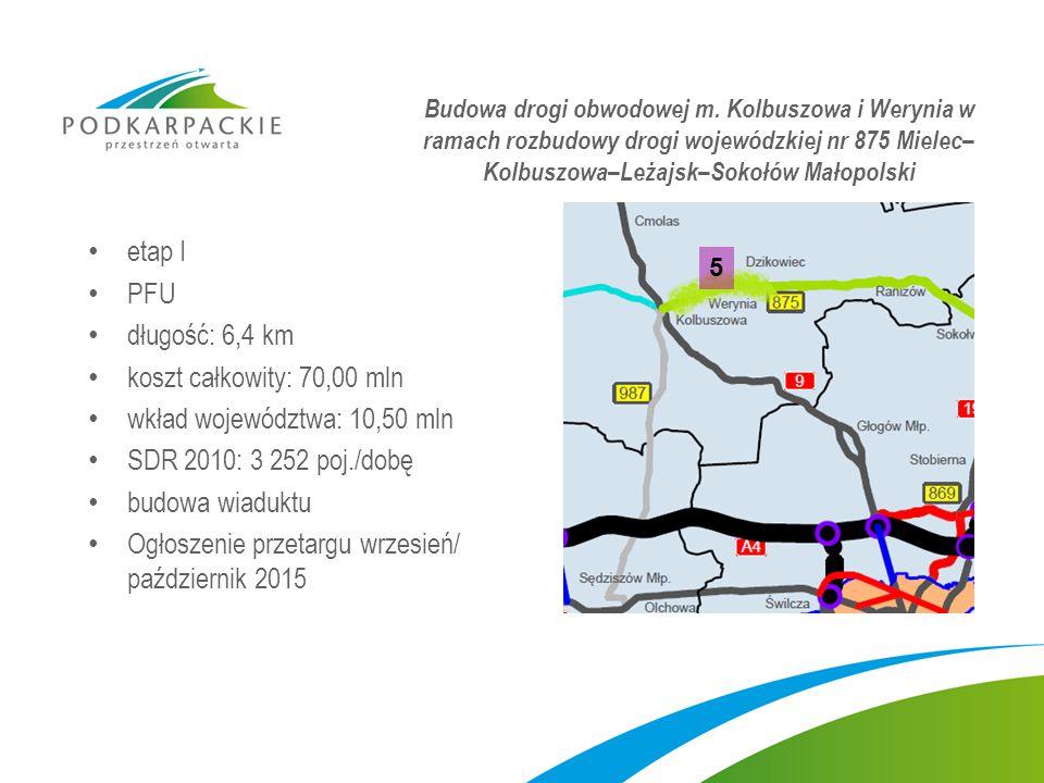 wkład województwa: 10,50 mln SDR 2010: 3 252 poj./dobę budowa wiaduktu