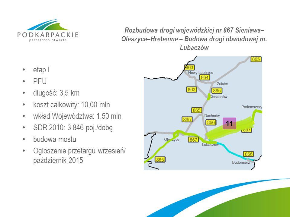 wkład Województwa: 1,50 mln SDR 2010: 3 846 poj./dobę budowa mostu
